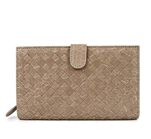 Bottege Veneta Nude Leather Continental Woven Clutch Wallet 132357 9641