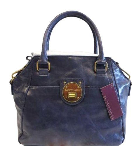 Elliott Lucca Navy Leather Satchel Purse