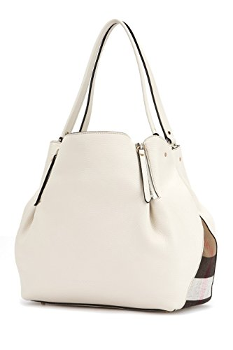 BURBERRY Women's Maidstone White Grained Leather Check Medium Tote Handbag
