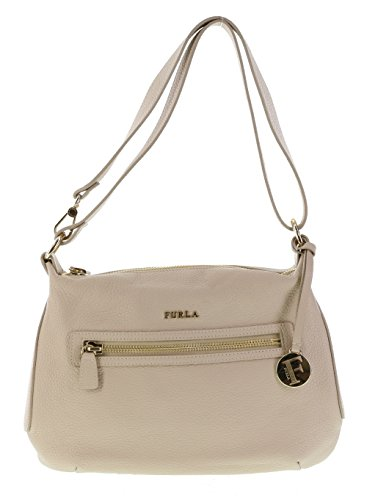 Furla Alida Pebbled Leather Handbag Shoulder Bag Crossbody Purse in Acero