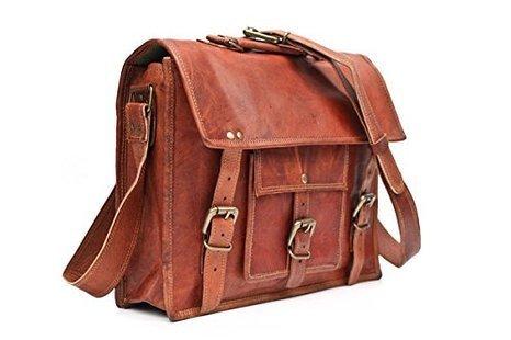 Handmadecraft 13″ Vintage Leather Messenger Satchel Laptop Briefcase Bag for Men and Women