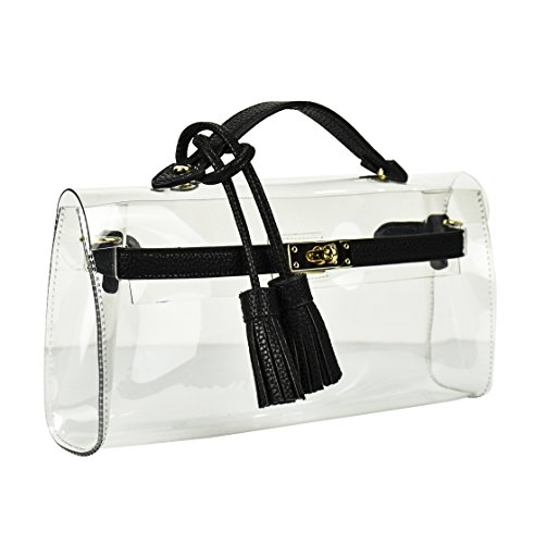 Lam Gallery Women's Clear PVC Beach Purse with Fringe Candy Transparent Wallet Shoulder Crossbody Bag