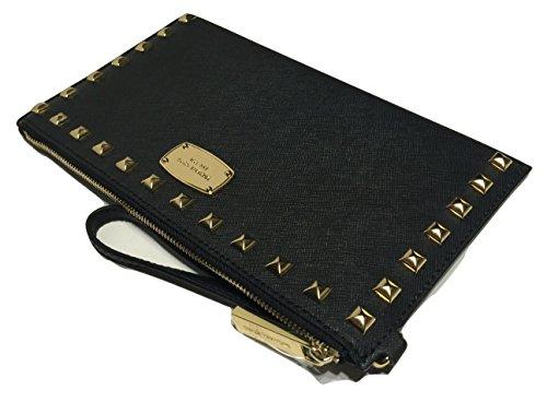Michael Kors Saffiano Stud LG Zip Clutch Black Saffiano Leather