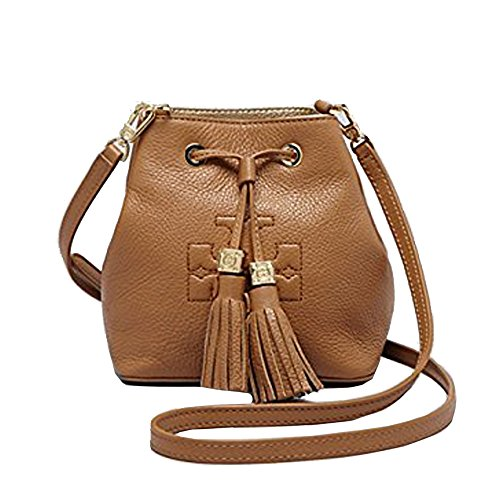 Tory Burch Thea Bucket Crossbody Tassel Leather – Royal Tan