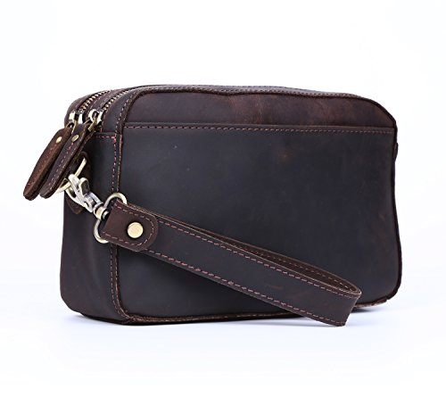 Polare Real Leather Men Purse Wallet Clutch Pouch Handbag Wrist Bag Shoulder Bag