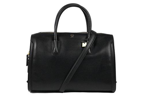 Mcm Tina Boston Black Leather Satchel Bag New