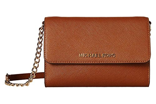 Michael Kors Women's Jet Set Travel Smartphone Crossbody Leather Cross-Body Satchel