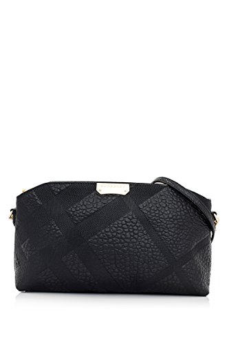 BURBERRY Chichester Black Check Pebbled Leather Clutch Cross Body Handbag Bag
