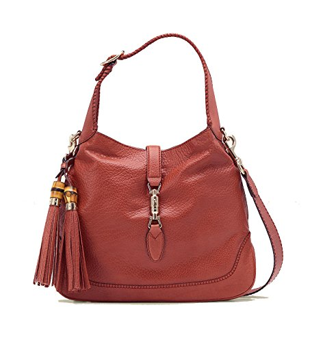 Gucci Pink Coral New Jackie Leather Shoulder Bag With Bamboo Tassel Large