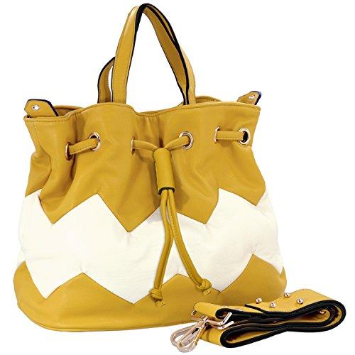 MG Collection ISADORA Yellow Zig Zag Drawstring Bucket Shoulder Handbag