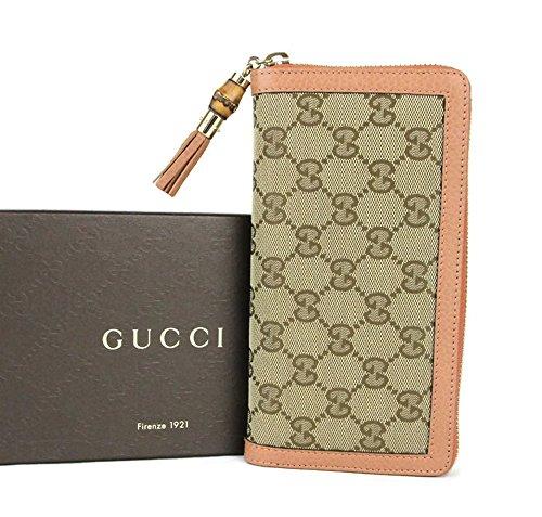 Gucci Beige GG Canvas Zip Around Wallet Bamboo Tassel Clutch 224253 8659