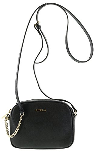 Furla MIKY Saffiano Leather Crossbody/Shoulder Handbag Purse in Onyx (001)