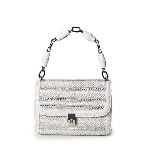 Eric Javits Designer Women's St. Barths Treasure Chest Bag (White/Silver)
