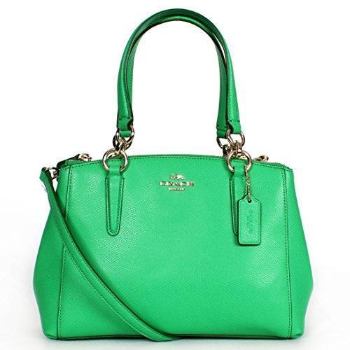 Coach Christie Crossgrain Leather Handbag Kelly Green F36704