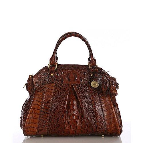 Brahmin Louise Rose Pecan Melbourne Emb Leather Satchel