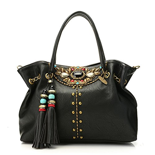 Mary Frances Riveting Handbag Beaded & Tassel Detailed Black Slouchy Satchel w/ Antique Beads