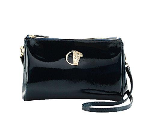 Versace Collection Patent Saffiano Leather Crossbody Bag, Dark Blue