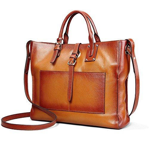 Kattee Women's Vintage Genuine Leather Business Tote Handbag