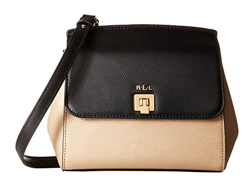 NEW AUTHENTIC RALPH LAUREN WHITBY SMALL LEATHER CROSSBODY (Black/Stone)