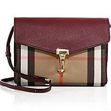 Burberry Small Leather House Check Crossbody Bag – Mahogany Red
