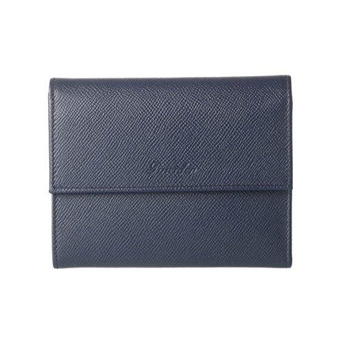 Pineider Womens Italian Leather Purse with flap closure Dark Blue
