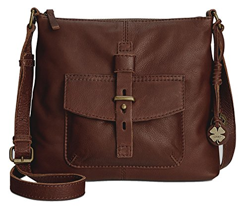 Lucky Brand Medine Leather Top Zip Crossbody Espresso