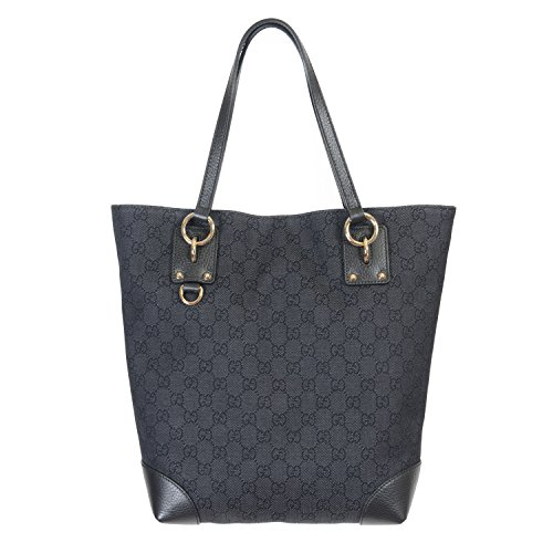 Gucci Women's Black Canvas Leather Trimmed Guccissima Print Tote Shoulder Bag