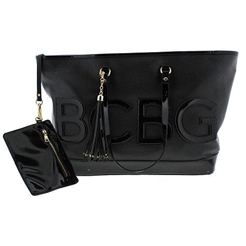 BCBG Paris Womens Faux Leather Patent Trim Tote Handbag