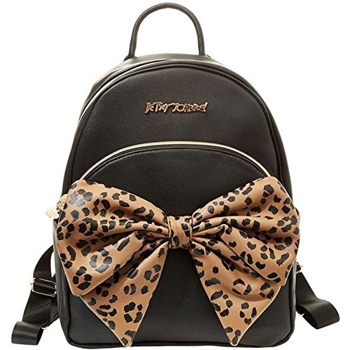 Betsey Johnson Backpack Handbag Bow Tails Leopard BJ49615