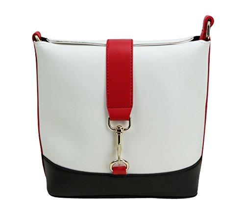 ilishop Women's Korean Vintage Pu Leather Shoulder Messenger Bag Bucket Bag (White)