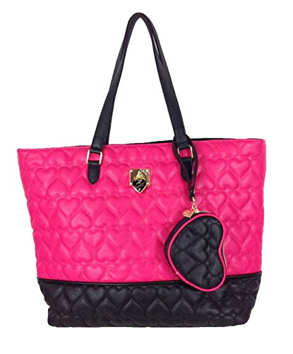 Betsey Johnson 'Be Mine' 2 In One Quilted Hearts Tote & Coin Purse, Fuchsia/Black