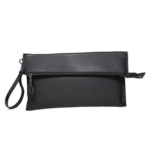 Wellingsale® Full Grain and Pebble Grain Natural Ebony Black Leather Folding Clutch Purse with Multipocket Cloth Liner and Removable Strap