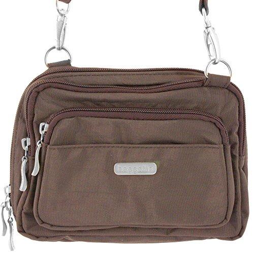 Baggallini Easy to Open Triple Zip Fashionable Crossbody Organizer Bag – Espresso