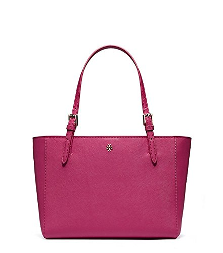 Tory Burch York Saffiano Leather Tote in Raspberry/gold