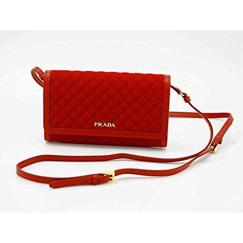 Prada Quilted Nylon & Soft Calf Leather Crossbody Shoulder Wallet Bag 1M1437, Red