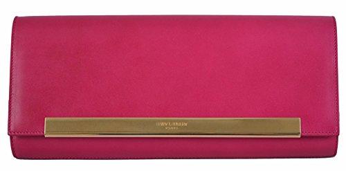 Yves Saint Laurent YSL Women's Pink Leather Poche Lutetia Flap Clutch