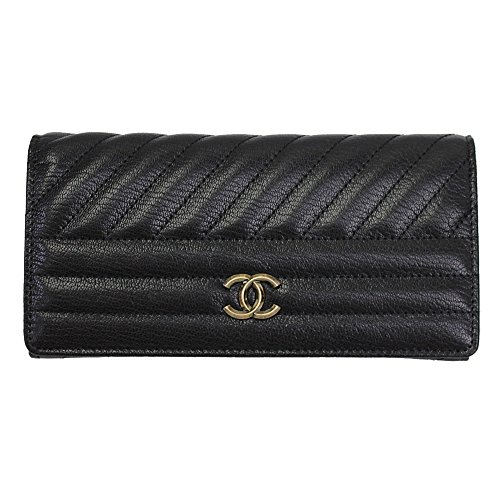 Chanel Black Leather Bifold Long Wallet A82399 Y60487