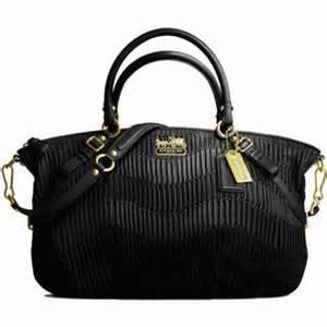 Coach Madison Sophia Black Gathered Leather Satchel Handbag Tote Bag 15947