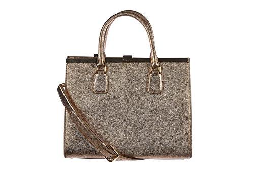Dolce&Gabbana women's leather handbag shopping bag purse calfskin print gold