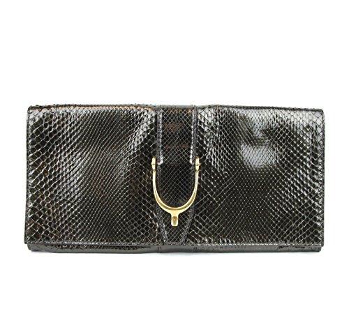 Gucci Green Python Soft Stirrup Python Clutch Evening Bag 304719