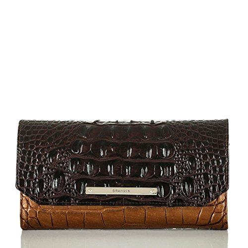 Brahmin Soft Checkbook Wallet Bronze Sienna Leather Clutch