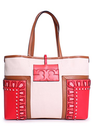 Tory Burch Block T-Applique Small Tote in Natural