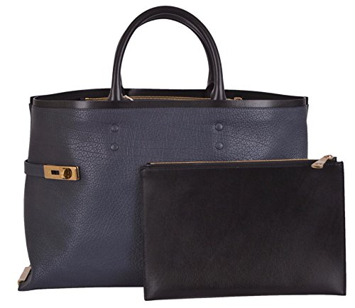 CHLOÉ Women's Blue Black Leather Charlotte Purse Handbag