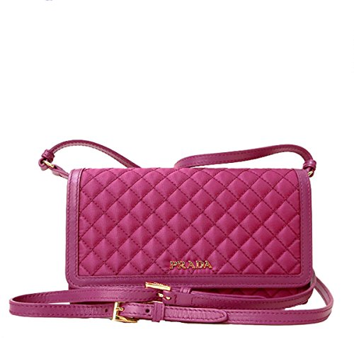 Prada Quilted Nylon & Soft Calf Leather Crossbody Shoulder Wallet Bag 1M1437, Pink