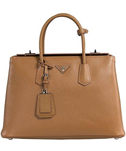 Prada Women's Saffiano Cuir Leather Handbag BN2748 F098L Caramel