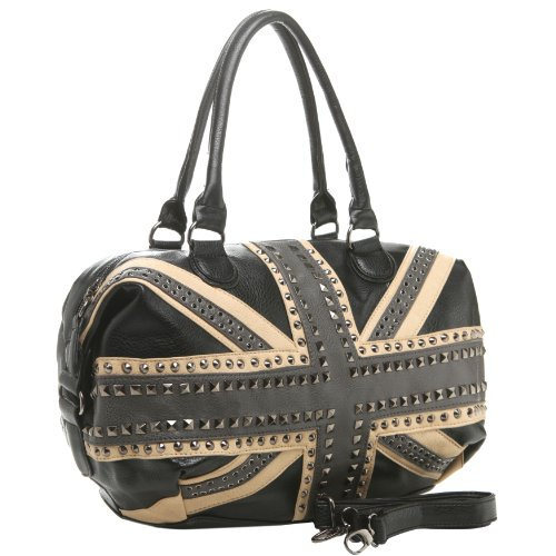 MG Collection BEGA Union Jack UK British Flag Shopper Tote Gothic Studded Purse