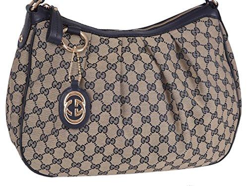 Gucci Women's Blue Beige Canvas GG Charm Guccissima Sukey Handbag