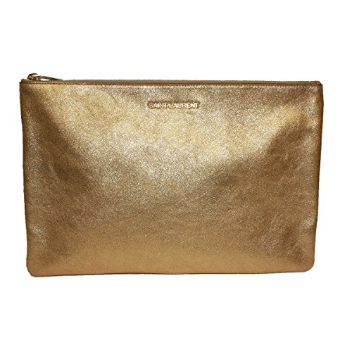 Saint Laurent 'Letters' Metallic Gold Calfskin Leather Zip Clutch, Large 328517