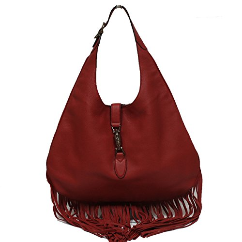 Gucci Nouveau Fringe Red Leather Hobo New Jackie Red Leather Handbag 351783