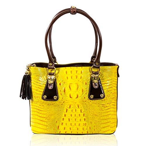 Marino Orlandi Italian Designer Yellow Alligator Leather Purse Large Tote Bag